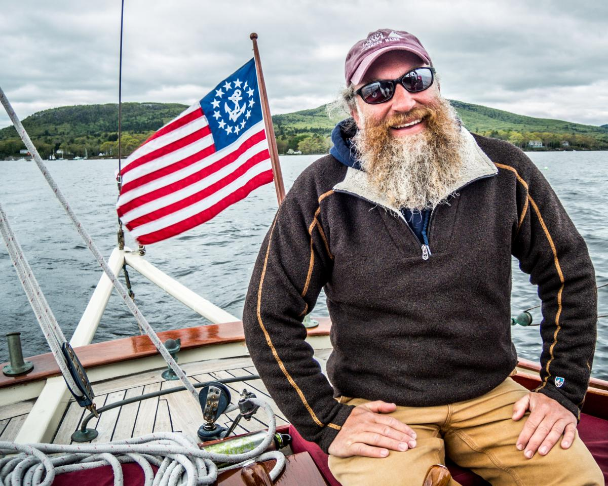 Captian Aaron Lincoln Sailing Penobscot Bay in Camden Maine